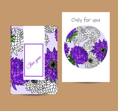Two decorative vector hand drawn aster cads. Useful for gift decoration, invitation and birthday card, poster, print, buisness card and banner.