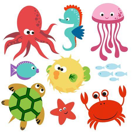 Lindo colorido conjunto de animales vectoriales del mundo submarino.