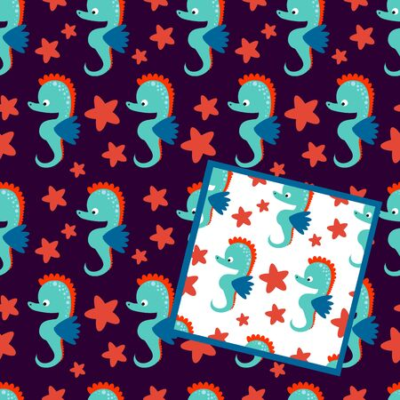 Two vector seamless patterns with sea horse on white and dark background with red sea stars.
