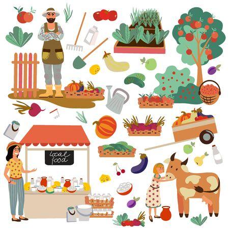 Set of multifunctional farm objects. Farm family.