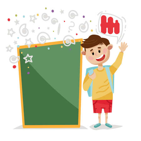 Cartoon style happy boy waving for us. Back to school and educational concept.