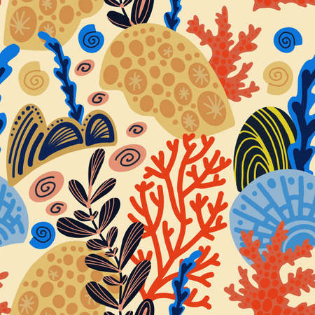 Sea corals. Simple hand drawn elements. Seamless pattern.  イラスト・ベクター素材