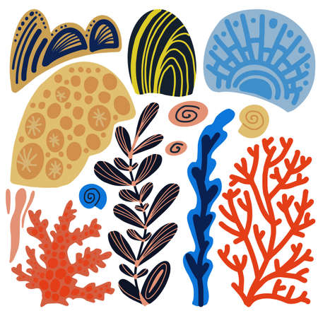 Sea corals cartoon set. Simple hand drawn elements.