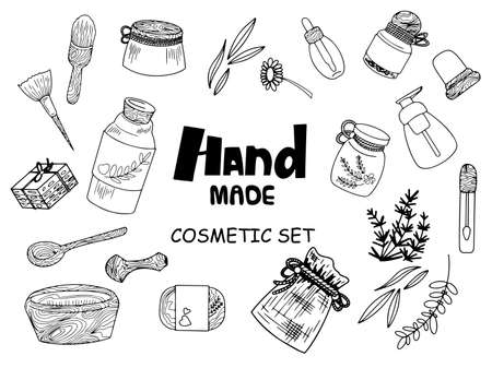 Set of hand made cosmetic objects. Outlined simple shapes.