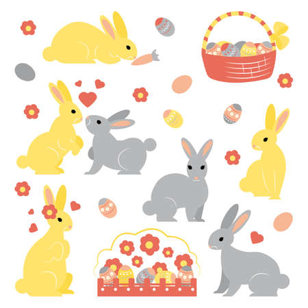 Vector set of simple shaped cute Easter bunnies in different poses. Basket with colored eggs. Flower bed with many eggs. Hearts Easy changeable clip arts for your designs, posters, stickers, prints.