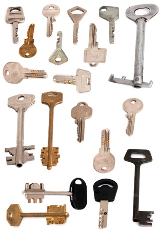 collection of 19 keys isolated on white Stock Photo - 8466039