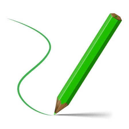 Green pencil Stock Vector - 17937068