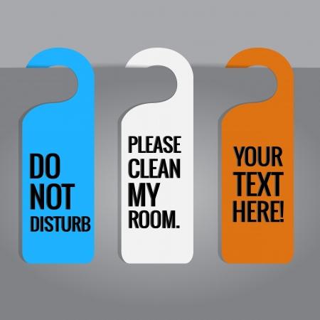Set of hotels door hanger tags  Illustration