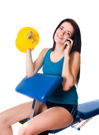 Girl with dumbbell  Stock Photo - 17903871