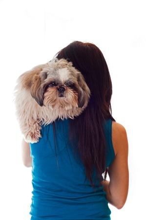 Back of woman with shi-tsu dog  Stock Photo - 17903927