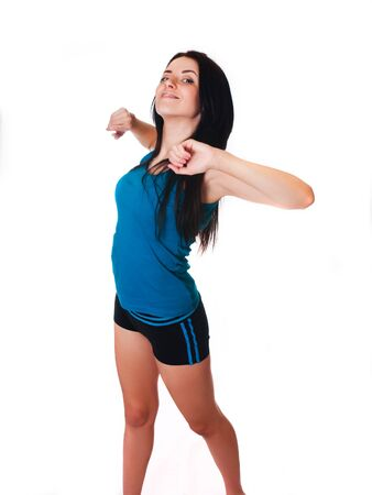 Happy Young woman do sport exercises