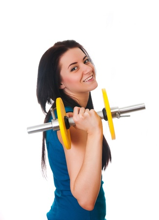 Happy Young woman do sport exercises Stock Photo - 17903865