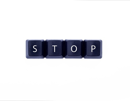 Four keyboard buttons with  stop  text Stock Photo