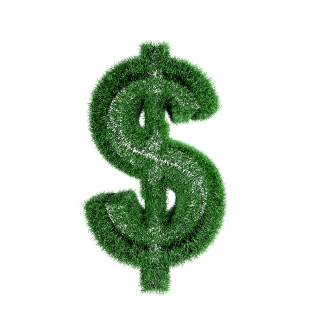 Dollar symbol created from the grass on white background Stock Photo