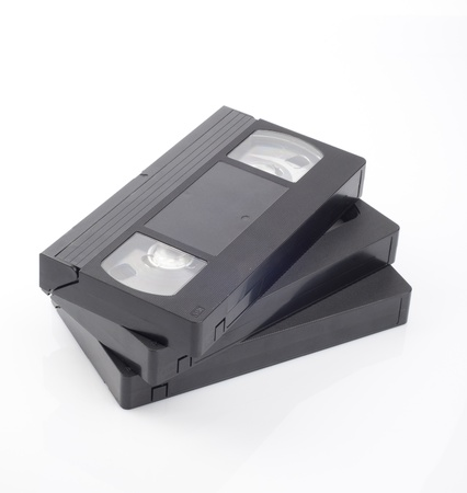 Video cassettes isolated on white background  Stock Photo