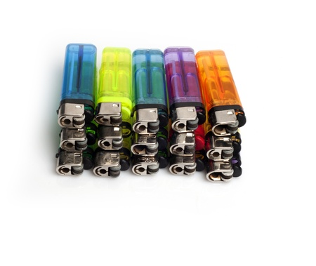 A bunch of lighters isolated on white background Stock Photo