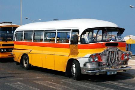one of the yellow Malta bus  Gozo  Malta Stock Photo