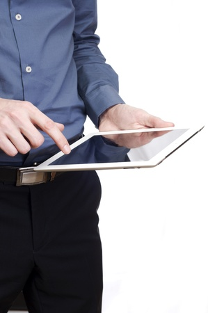 Tablet in man hand  isolated on white background Stock Photo