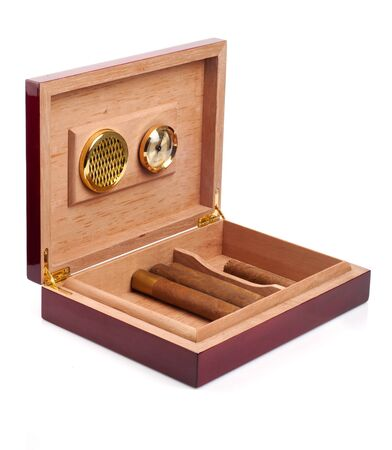 Opened humidor with cigars isolated on white background Stock Photo
