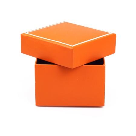 Orange opened box isolated on white background