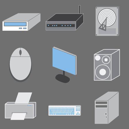 Set of nine computer-tematic icons  photo