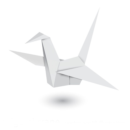 Illustration of origami crane isolated on white background Stock Photo