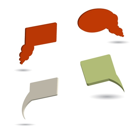 speak out: Set of four color 3d illustrated speech bubles  Stock Photo