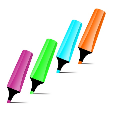 Set of four-color markers isolated on white background Stock Vector - 18390095