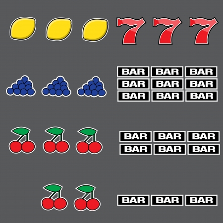Set of illustrated combinations of slots
