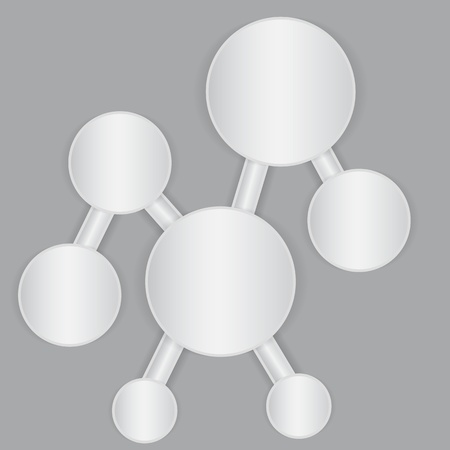 White connected paper sheet banners in the shape of molecul.