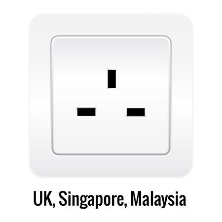 socket: Realistick socket illustration isolated on white. UK, Singapore, Malaysia type.