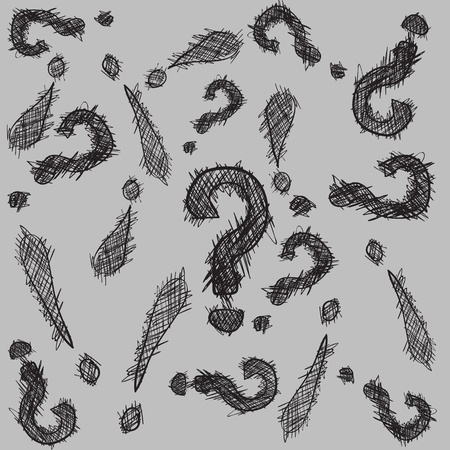 Abstract pattern with hand drawn exclamation and question marks in black and white tones Ilustração