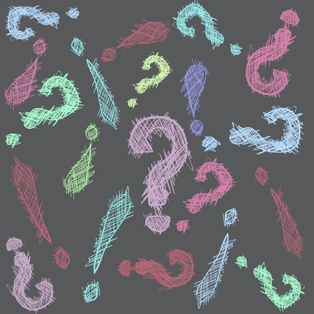 Abstract pattern with hand drawn exclamation and question marks in color