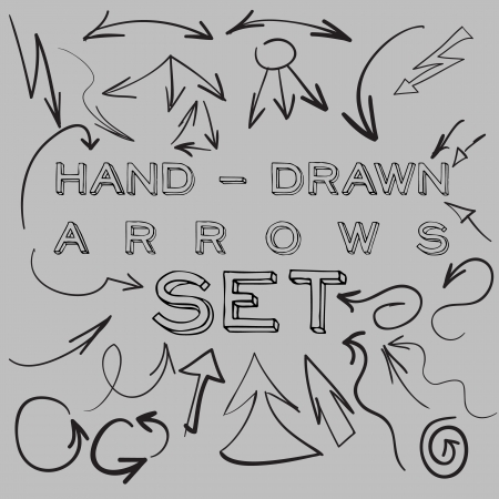 Set of many hand-drawn arrows for your design or web site.