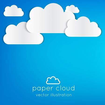 white background illustration: Paper cloud