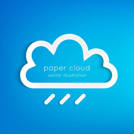 blue sky with clouds: Paper rainy cloud