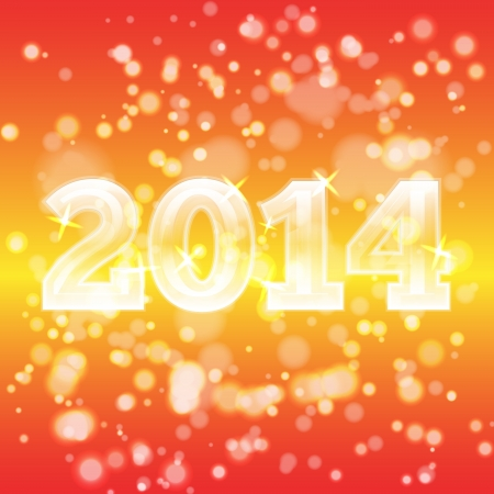 2014 on colorful, spectrum background with many particles. Can be used for postcards, greetings and other Illustration