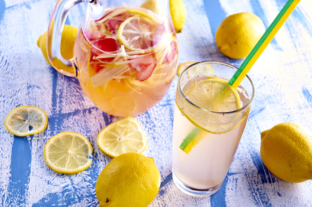 Fresh and cold ginger lemonade with strawberry Stock Photo - 29677790