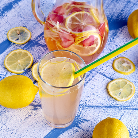 Fresh and cold ginger lemonade with strawberry photo