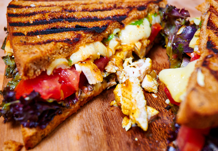 Hot and spicy club sandwich with chicken Stock Photo