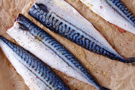 Mackerel uncoocked fillet Stock Photo