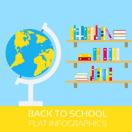 Back to school infographics. Globe and shelf with books. Modern, flat design style Illustration
