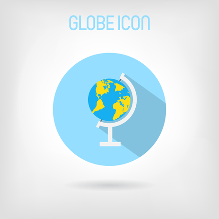 Flat styled school globe icon blue and yellow globe with world flat styled school globe icon blue and yellow globe with world map in blue gumiabroncs Gallery