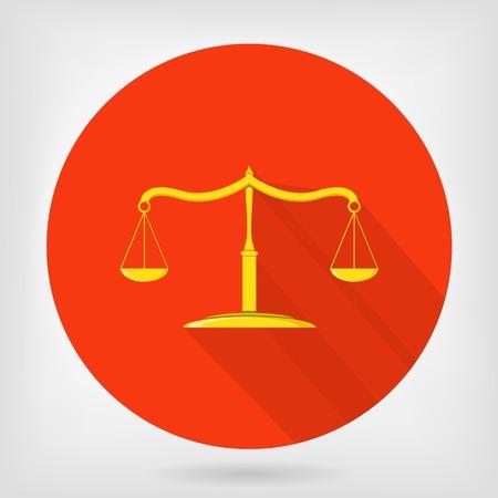jurisprudencia: Escalas de la justicia icono plana. S�mbolo de la jurisprudencia, la verdad y femida.