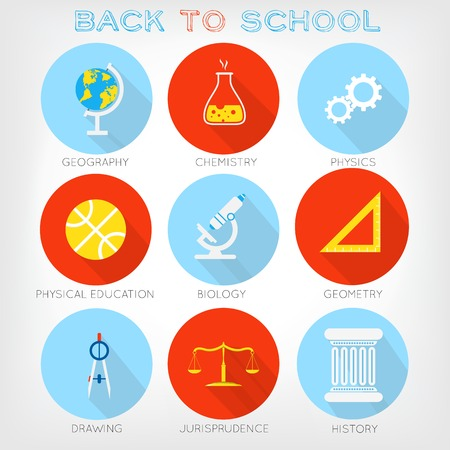 giurisprudenza: Set di icone piane stile di materie scolastiche. Geografia, chimica, fisica, educazione fisica, biologia, disegno, giurisprudenza, storia, geometria