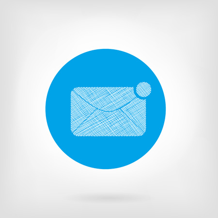 Mail letter icon in flat and doodle style. Vector