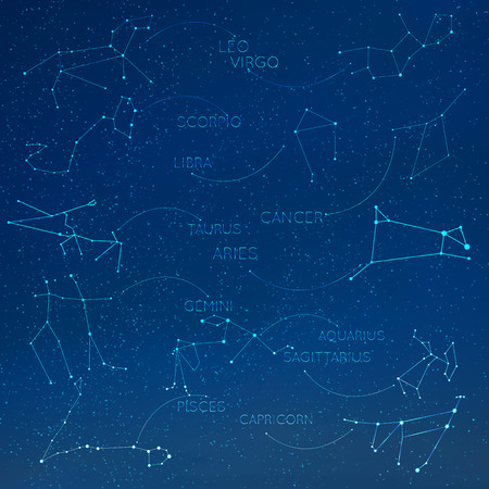 aquarius star: Zodiac constellation in skyline with many other stars