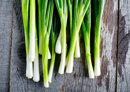 green onion: Bunch of fresh green onions on dark or neutral wooden background