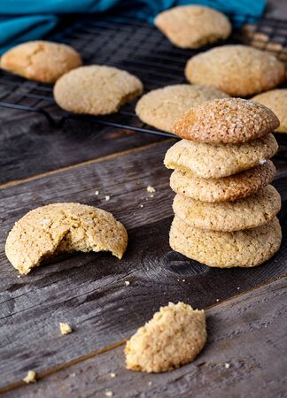 Ginger soft cookies - homemade brown cookies on wood background Stock Photo