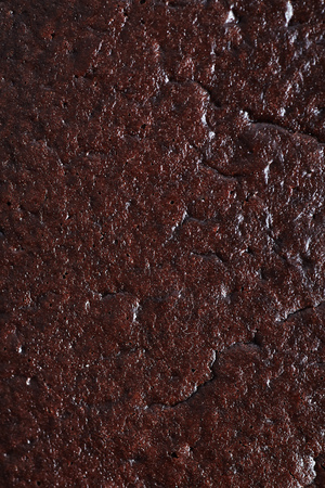 Close-up macro photograph of chocolate cake or brownie texture